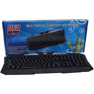 REO Multimedia Comfort USB Wired Keyboard (Black Cable length 1.8 mtr)