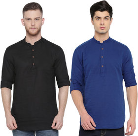 Balino London Men's Set of 2 Shirt-Kurta (Black & Blue)