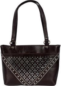 ZINT Genuine Leather Brown  Silver Handmade Shoulder Bag Tote Bag Shopping Bag Purse Women's Handbag