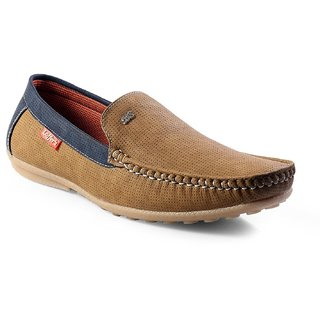 Cyro Men's Beige Synthetic Leather Smart Casual Loafers