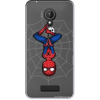Snooky Printed Spiderman Mobile Back Cover of Micromax Canvas Spark Q380 - Multicolour