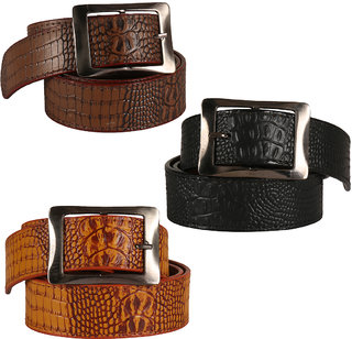 Jack Klein Stylish look 3 Different Colored Leatherite Needle Pin Point Belt For Men