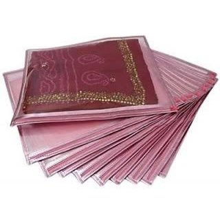 Set Of 12 Transparent Saree Covers