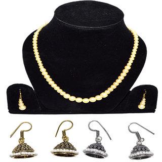 Jewels Kafe Pearl Necklace and Jaipuri Oxidised Plated Jhumki Earrings Combo