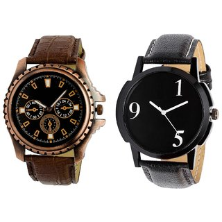 PMAX 5 Round Black Dial Analog Watch Combo for Men