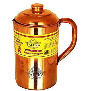 """Taluka ( 4.2"""" x 8.8"""" Inches ) Pure Copper Jug For Water Drinking Pitcher 