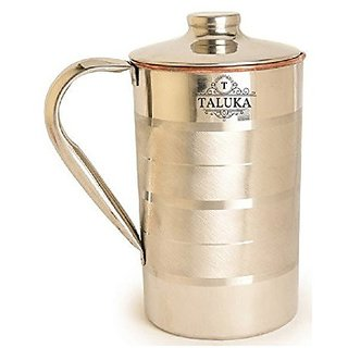 "Taluka ( 5"" x 9"" inches approx ) Copper Stainless Steel Jug Capacity 2000 ml Water Restaurant Hotel Ware Home Garden Kitchen Dinning (2 LITER)"