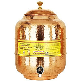 "Taluka 13.5 X 5.7""Inches Handmade Hammered Pure Copper Water Pot Tank with Tap 