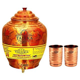 Taluka Apple Design Pure Copper Water Pot Dispenser Matka Water Tank Water Storage Capacity :- 16 Liter Weight :- 1600 Grams Set With 2 Copper Glass 300 ML Each for use Storage Drinking Water Restaurant Hotel Home Ware Gift Item Home Decore Good Health