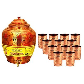 Taluka Apple Design Pure Copper Water Pot Dispenser Matka Water Tank Water Storage Capacity :- 16 Liter Weight :- 1600 Grams Set With 12 Copper Glass 300 ML Each for use Storage Drinking Water Restaurant Hotel Home Ware Gift Item Home Decore Good Health