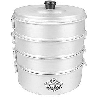 "Taluka (Dia:-8.2"" Inches Height :- 12"" Inches) Aluminium Momo Maker | Dumpling Maker / Momo Steamer Modak Maker 4 TIER WEIGHT :- 1450 GRAMS"