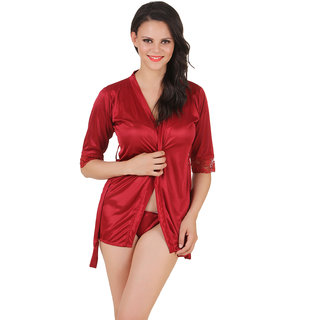 Fasense Satin Nightwear Babydoll 2 Pc Set of Wrap Gown  Thong DP143 A
