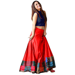 910d498aa7 Buy Reeva Trendz Women's Taffeta Silk Semi-Stitched Designer Lehnaga ...