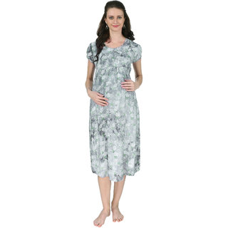 b8ff7ee080 Buy Vixenwrap Electric Grey Printed A-Line Maternity Gown Online ...
