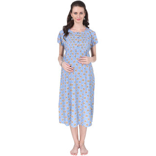 Buy Vixenwrap Cute Baby Blue Printed A-Line Maternity Gown Online - Get 44%  Off 865ec4f12027