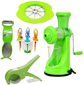 Jen Super Combo of Prime Green Hand Juicer + Vegetable Cutter + Apple Cutter + 3in1 Peeler + 6pcs Fruit Fork with Stand