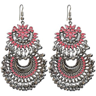 Lucky Jewellery Trendy Pink Color Oxidised Plating Earring For S Women