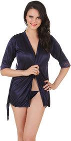 Fasense Satin Nightwear BabyDoll 2 Pc Set of Wrap Gown  Thong DP143 C