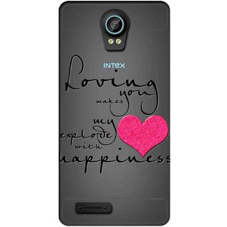 Snooky Printed Happiness Mobile Back Cover of Intex Aqua Life 2 - Multicolour