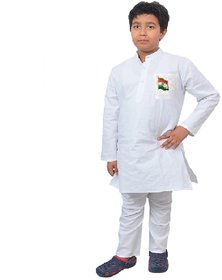 Kids cotton white kurta pyjama