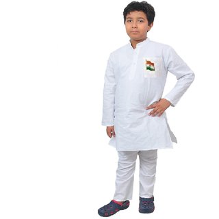 Buy Kids cotton white kurta pyjama Online - Get 57% Off f89661cc2