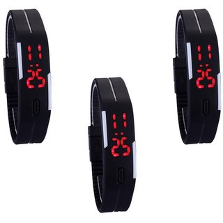 New Digital Led Black Megnet Combo Pack Of 3 Watch
