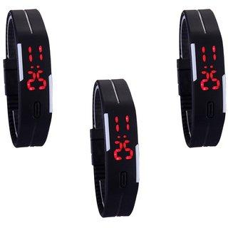 New Digital Led Black Megnet Combo Pack Of 3 Watch