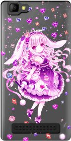 Snooky Printed Diamond Girl Mobile Back Cover of LYF Wind 7 - Multicolour