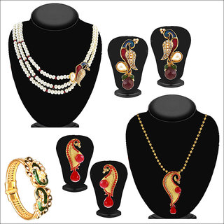 Meia Gold Plated Designer 3 Jewellery Combo For Women