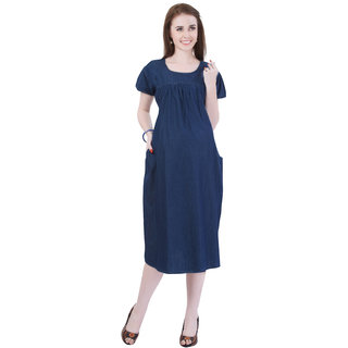 0c50af13793 Buy MomToBe Women s Denim Blue Maternity Dress Online   ₹1399 from ...