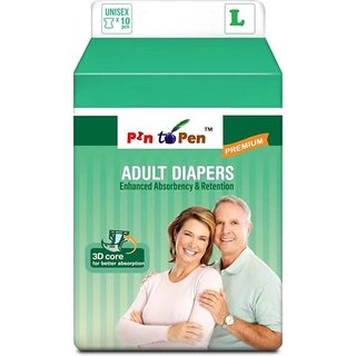 Adult Diapers Disposable Large 10 Pcs