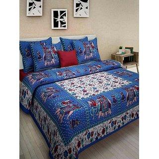 The Intellect Bazaar 100 % Pure Cotton Jaipuri Rajasthani Double Bedsheet Traditional - Blue