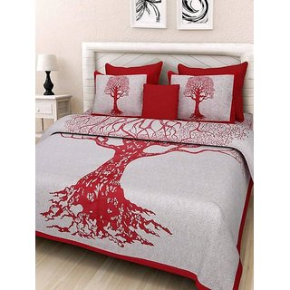 The Intellect Bazaar 100 % Pure Cotton Jaipuri Rajasthani Double Bedsheet Traditional - Red