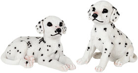 Wonderland Set of Two : Sitting & Lying Dalmation Dog Pup staute, real looking, made of polyresin, garden dcor, home decoration, garden decoration items, Home Decorative items, gift , gifting