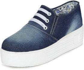 1 Walk Women's Blue Lace-up Smart Casuals