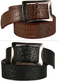Jack Klein Stylish look Leatherite Black  Brown Needle Pin Point Belt For Men