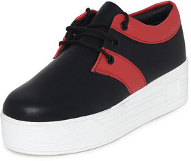1 Walk Women's Black Lace-up Smart Casuals