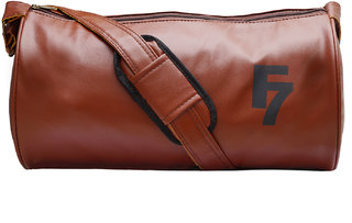Fashion 7 Leatherite Tan Gym Bag