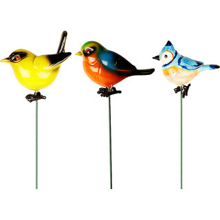 Wonderland Combo (Pack of 3) Plastic Bird with 24 Inches metal stick
