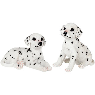 Wonderland Set of Two : Sitting & Lying Dalmation Dog Pup staute real looking made of polyresin garden dcor home decoration garden decoration items Home Decorative items gift  gifting
