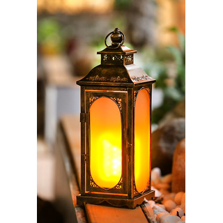 Wonderland LED artificial flame Lantern or lamp with flickering wick  light for garden dcor home decorative item gift gifting needs battery no electricity