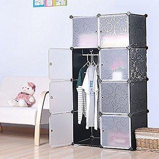 buy styleys multi use diy plastic 8 cube organizer bookcase storage cabinet wardrobe closet. Black Bedroom Furniture Sets. Home Design Ideas