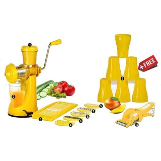 SRK Internationals-Plastic Elegant Fruit Juicer With 6 In 1 Slicer + Multi Vegetable Cutter + 6 Pcs Water Glass(Premium)