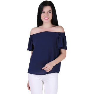 AIDA Georgette Solid Top for Women - Blue