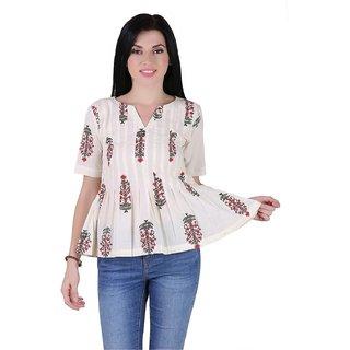 AIDA Cotton Floral Print Top for Women - White