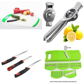 SRK Kitchen Tools Combo Curved Chopping Board + 2 In 1 Lemon Squeezer + Sumo Knife Set 3pcs + 6 In 1 Slicer