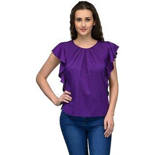 Purple Frilled Sleeve Women Top