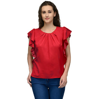 Red Frilled Sleeve Women Top