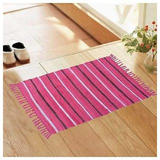 Pink Stripe Chindi Rug by Azaani