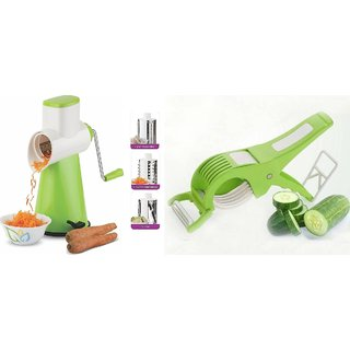 SRK Kitchen Tools Combo Rotary Grater And Slicer + Multi Vegetable Cutter With Peeler